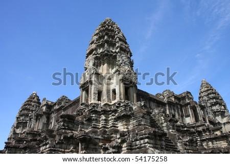 Tower at Angkor in Cambodia - stock photo