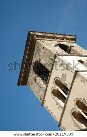 tower bell of a romanesque church - stock photo