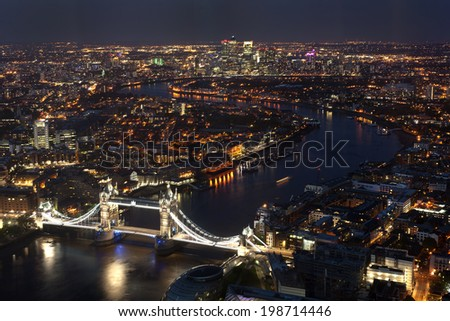 Tower Bridge and Canary Wharf, the financial district, from The Shard, London, United Kingdom, UK, Europe