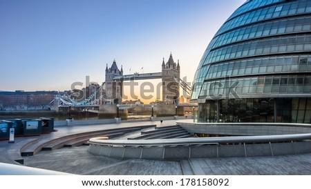 Tower Bridge and City Hall - stock photo