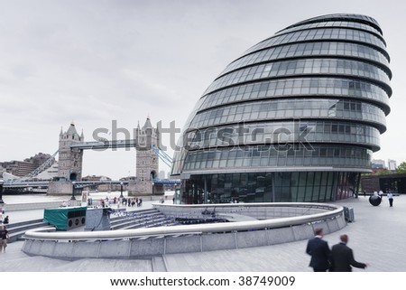 Tower bridge and city hall in London - stock photo