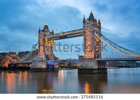 Tower Bridge and River Thames in the Morning, London, United Kingdom