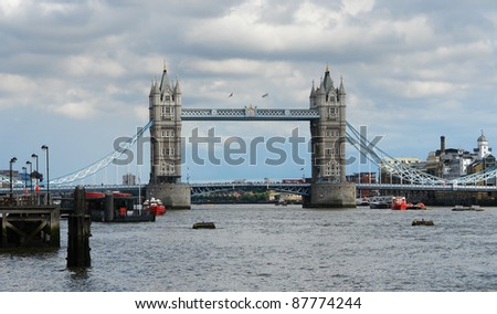 Tower Bridge and Thames in London - stock photo