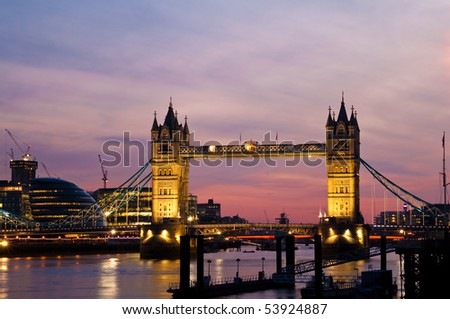 Tower Bridge and the London City Hall at sunset - stock photo