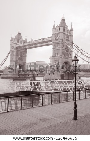 Tower Bridge and the River Thames, London in Black and White Sepia Tone