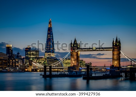 Tower bridge and the sky London skyline at sunset in London, England - stock photo