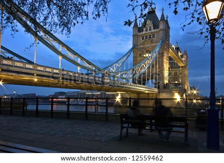 tower bridge at dusk - stock photo