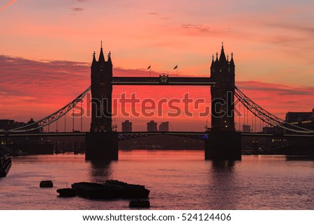 Tower Bridge at dusk in London United Kingdom