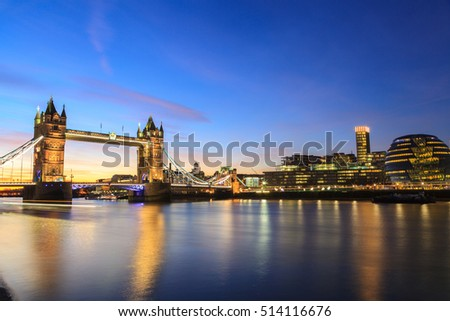 Tower Bridge at dusk ,London United Kingdom
