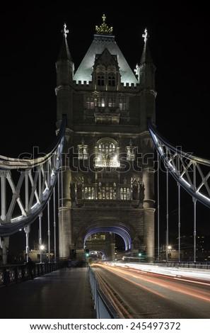 Tower Bridge at Night in London - stock photo