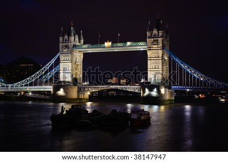 Tower Bridge at night, in London, UK