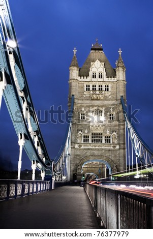 Tower Bridge at night, photo taken in London, UK - stock photo