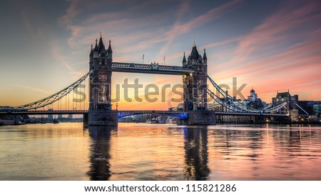 Tower Bridge at sunrise HDR - stock photo