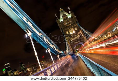 Tower Bridge (built 1886-1894) is a combined bascule and suspension bridge in London which crosses the River Thames. - stock photo