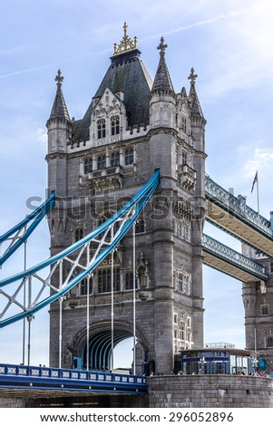 Tower Bridge (1886-1894) - iconic symbol of London. It is a combined bascule and suspension bridge in London, over River Thames. Tower Bridge is close to Tower of London, from which it takes its name. - stock photo