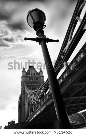 Tower Bridge in black and white style in London, UK - stock photo