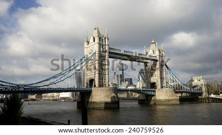 Tower Bridge in cloudy day, London Architecture  - stock photo