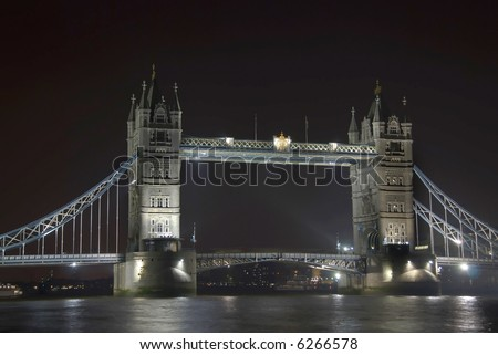 Tower Bridge in London at night - stock photo
