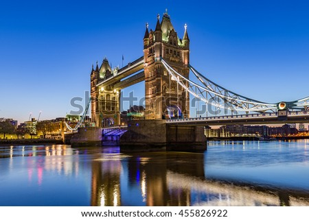 Tower Bridge in London during blue hour.