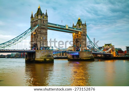 Tower bridge in London, Great Britain in the evening