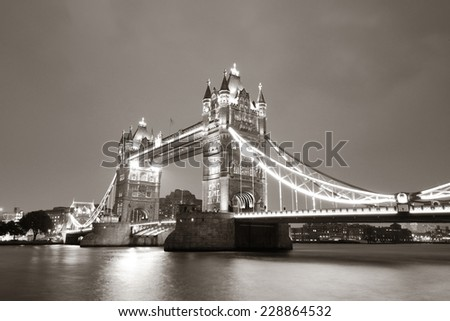 Tower Bridge in London in black and white at night. - stock photo