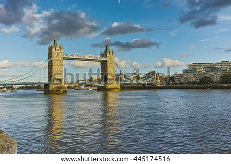 Tower Bridge in London in the late afternoon, England, Great Britain - stock photo