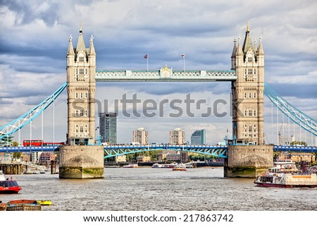 Tower Bridge in London over the River Thames - stock photo