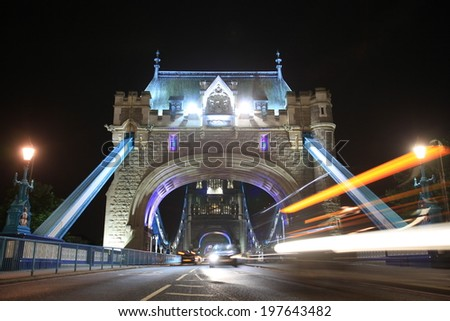 Tower Bridge in London - road perspective - stock photo