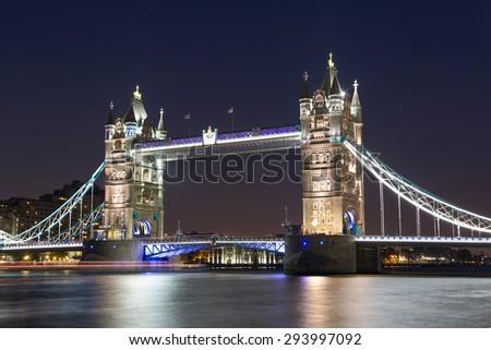 Tower Bridge in London, UK: night view - stock photo