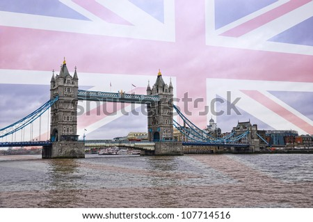 Tower Bridge in London with a British flag background - stock photo