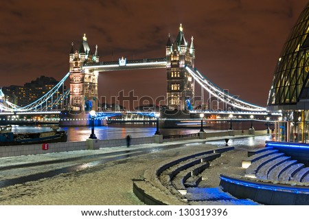 Tower Bridge in Winter - stock photo