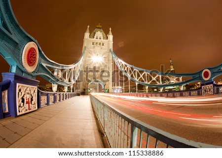 Tower Bridge Landmark of England United Kingdom at Night, Fish Eye Perspective - stock photo