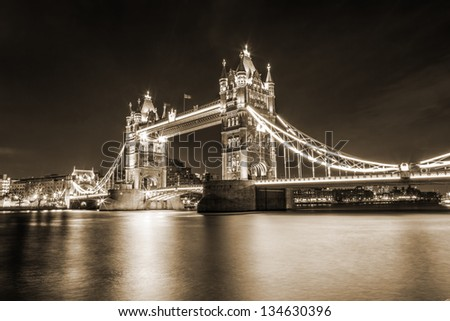 Tower Bridge, London, UK, toning