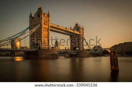 Tower bridge morning sunrise from across the Thames river in London stock photo