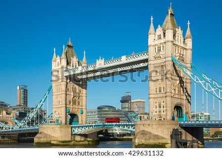 Tower bridge of London with blue sky - stock photo