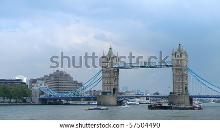 Tower bridge on river Thames in London - stock photo