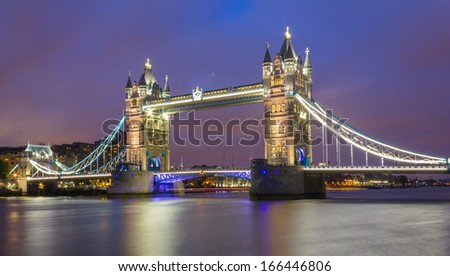 Tower Bridge with a blue sky - stock photo