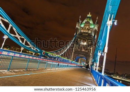 Tower Bridge with Car light streaks - stock photo
