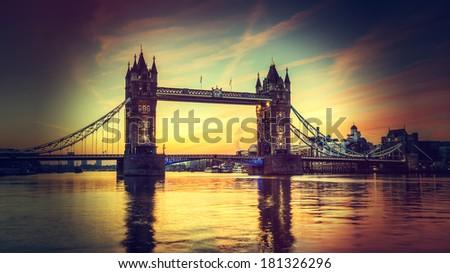 Tower Bridge with Holga style instagram filter - stock photo