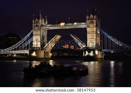 Tower Bridge with raised arches, in London, UK
