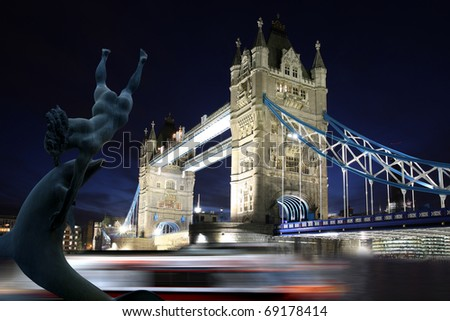 Tower Bridge with sculpture, London, UK - stock photo