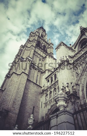 Tower.Cathedral of Toledo, imperial city. Spain - stock photo