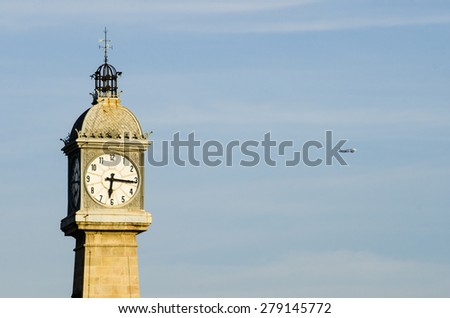 Tower clock in Barcelone (Spain) - stock photo
