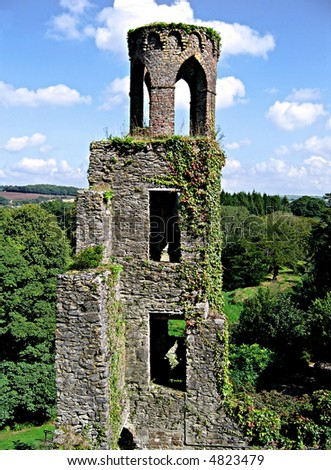 Tower covered in ivy at Blarney Castle in Ireland - stock photo