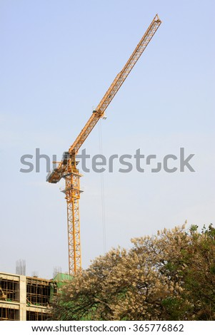 Tower crane at construction sites, closeup of photo