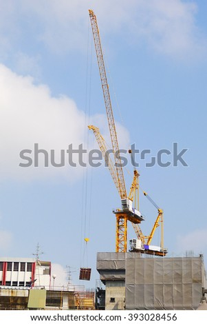 tower crane was raised for the construction of buildings at Bangkok,thailand