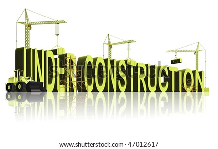 tower cranes constructing 3D word under construction