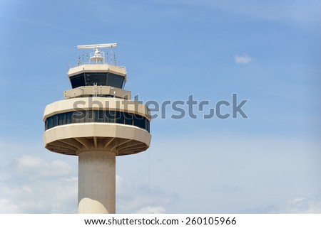 Tower for air control at a airport - stock photo