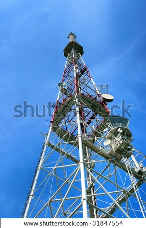 Tower for installation of aerials of cellular communication - stock photo