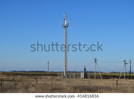 Tower for the transmission of cellular signals. Telecommunication equipment. - stock photo
